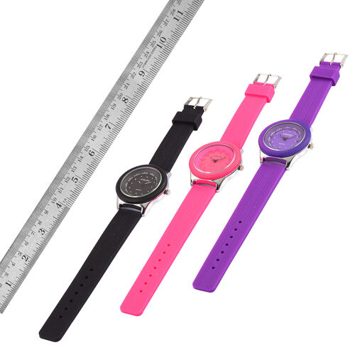 Set of 3 - STRADA Japanese Movement Black, Pink and Purple Colour Watch in Silver Tone with Silicone Strap
