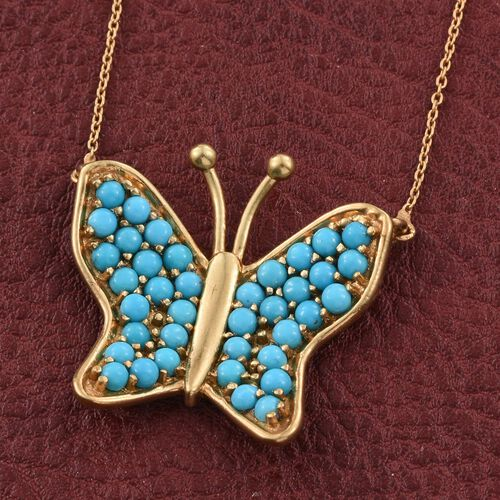 Arizona Sleeping Beauty Turquoise (Rnd) Butterfly Necklace (Size 18) in 14K Gold Overlay Sterling Silver 2.000 Ct.