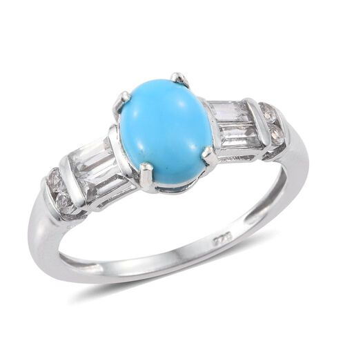 Arizona Sleeping Beauty Turquoise (Ovl 1.35 Ct), White Topaz Ring in Platinum Overlay Sterling Silver 2.250 Ct.