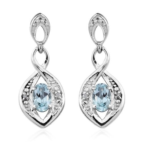 Sky Blue Topaz (Ovl), Diamond Earrings (with Push Back) in Platinum Overlay Sterling Silver 1.000 Ct.