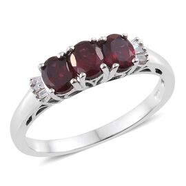 Arizona Anthill Garnet (Ovl), Diamond Ring in Platinum Overlay Sterling Silver 1.250 Ct.