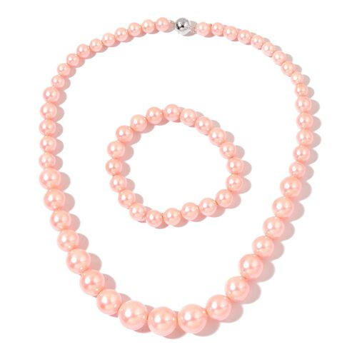 Super Auction - Graduated Pink Shell Pearl Necklace (Size 20) with Sterling Silver Magnetic Lock and Stretchable Bracelet (Size 7.5)