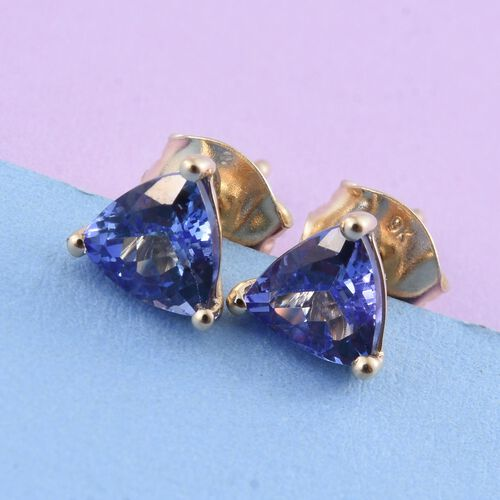 9K Yellow Gold 1.15 Carat AA Tanzanite Trillion Stud Earrings (with Push Back)