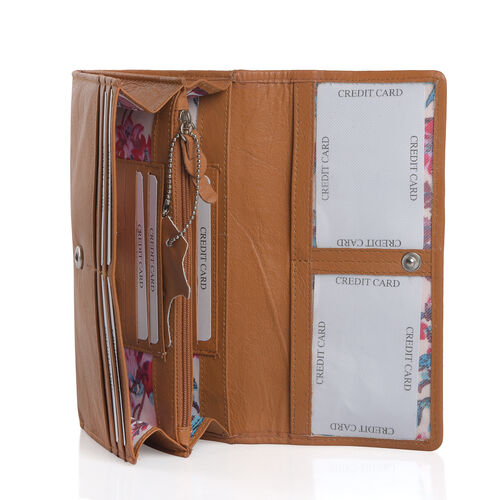100% Genuine Leather RFID Blocker Tan and Beige Colour Snake Pattern Wallet with Multiple Card Slots (Size 19X10.5X3.8 Cm)