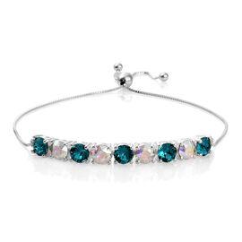 J Francis Crystal from Swarovski - AB Crystal (Rnd), Blue Zircon Crystal Adjustable Bracelet (Size 6.5 to 9) in Sterling Silver
