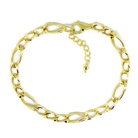 Royal Bali Collection 9K Yellow Gold Figaro Bracelet (Size 7.5 with 1 inch Extender), Gold wt 3.93 Gms.