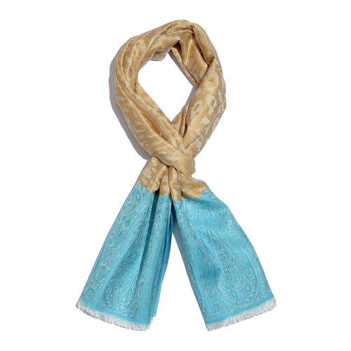 Leopard and Paisley Pattern Beige and Light Blue Colour Reversible Scarf (Size 190x70 Cm)