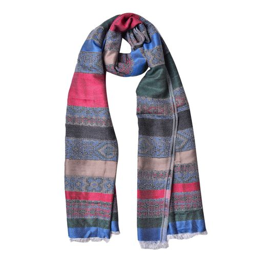 Green, Blue and Multi Colour Stripes Pattern Scarf with Fringes (Size 180X67 Cm)