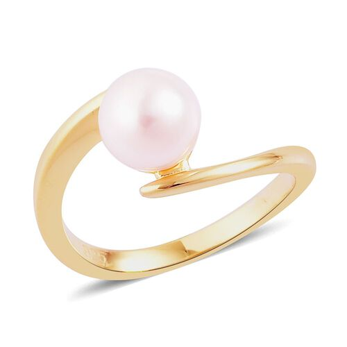 Japanese Akoya Pearl (Rnd 7-8mm) Solitaire Ring in Yellow Gold Overlay Sterling Silver