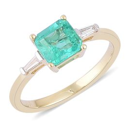 ILIANA 18K Yellow Gold AAAA Boyaca Colombian Emerald (Oct 1.15 Ct), Diamond (SI G-H) Ring 1.250 Ct.