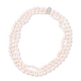Fresh Water White Pearl (7-8mm) Triple Row Necklace (Size 18) in Rhodium Plated Sterling Silver