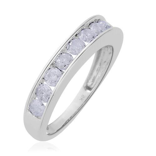 9K White Gold 1 Carat Diamond SGL Certified (I 3/G-H) Half Eternity Band Ring.