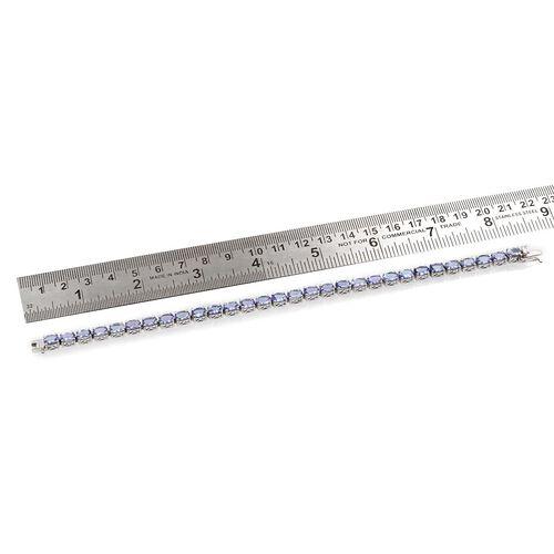Tanzanite (Ovl) Bracelet in Platinum Overlay Sterling Silver (Size 8) 15.000 Ct.