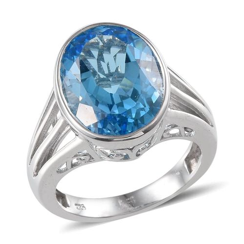 Electric Swiss Blue Topaz (Ovl) Solitaire Ring in Platinum Overlay Sterling Silver 9.500 Ct.
