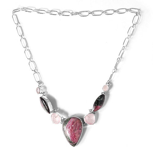 ARTISAN CRAFTED Ruby Zoisite, Pink Quartz Sterling Silver Necklace 78.00 Ct.
