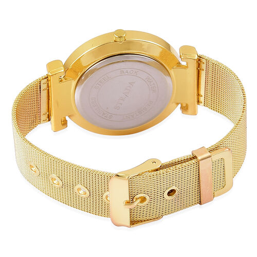 STRADA Japanese Movement Dragon Pattern Golden Dial Watch in Yellow Gold Tone with Stainless Steel Back