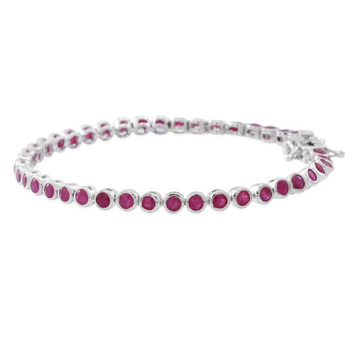 AA Burmese Ruby (Rnd) Bracelet (Size 7) in Rhodium Plated Sterling Silver 6.000 Ct.