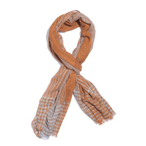 Italian Designer Inspired Mustard and Grey Colour Stripes Pattern Scarf (Size 190x150 Cm) 5% CASHMERE WOOL, 65% MICRO MODAL & 30% MERCERIZED COTTON