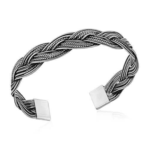 Royal Bali Collection Sterling Silver Cuff Bangle (Size 7), Silver Wt 14.58 Gms.