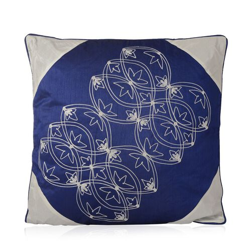 Blue and White Colour Embroidered Cushion (Size 43x43 Cm)