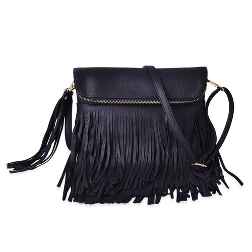 Black Colour Crossbody Bag with Adjustable and Removable Shoulder Strap and Large Tassels (Size 24x19 Cm)