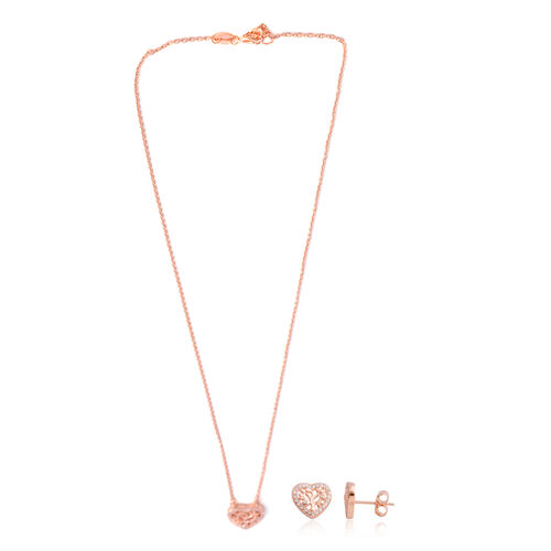 Brilliant Cut Simulated Diamond (Rnd) Heart Pendant with Chain (Size 16 with 1 inch Extender) and Earrings (with Push Back) in Rose Gold Overlay Sterling Silver