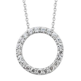 J Francis - Platinum Overlay Sterling Silver (Rnd) Circle of Life Pendant with Chain