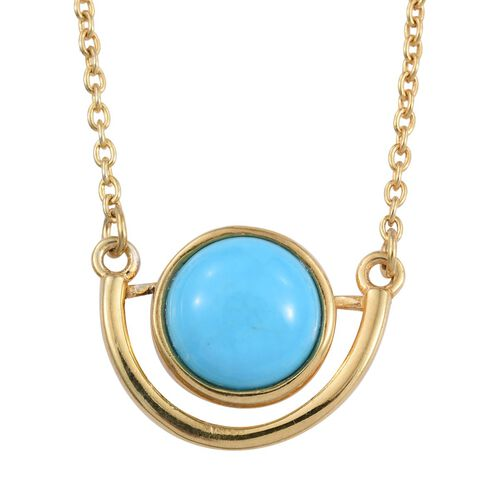 Arizona Sleeping Beauty Turquoise (Rnd) Solitaire Pendant with Chain in 14K Gold Overlay Sterling Silver 2.000 Ct.