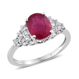 Designer Inspired- AAA African Ruby (Ovl 4.00 Ct), White Topaz Ring in Platinum Overlay Sterling Silver 4.500 Ct.