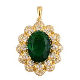 Simulated Emerald and Simulated White Diamond Pendant in Yellow Gold Overlay Sterling Silver