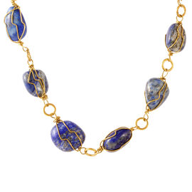 Lapis Lazuli Necklace (Size 18) in Yellow Gold Bond 310.000 Ct.