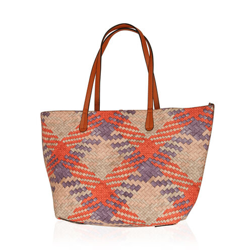 Set of 2 - Weave Pattern Multi Colour Reversible Large and Chocolate Colour Small Handbag with Adjustable and Removable Shoulder Strap (Size 47x29x10, 31x22x12 Cm)
