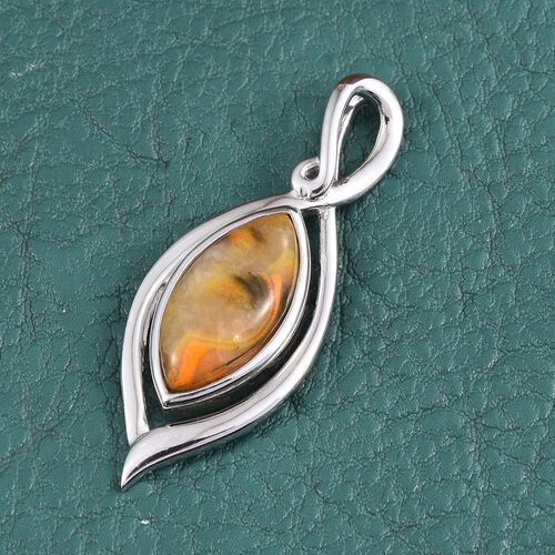 Bumble Bee Jasper (Mrq) Solitaire Pendant in Platinum Overlay Sterling Silver 6.000 Ct.