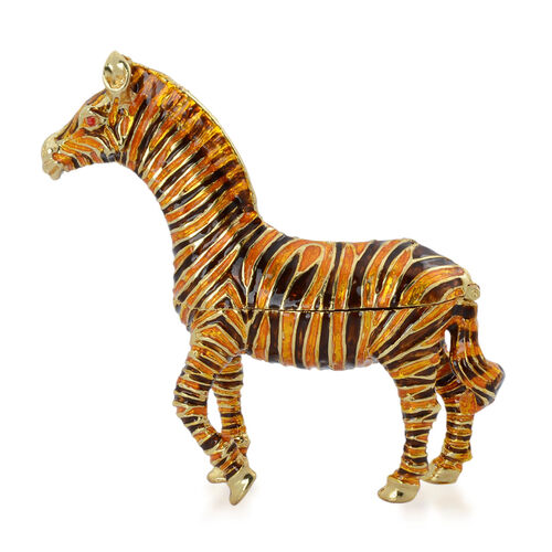 Brown and Yellow Colour Enameled Zebra Shape Trinket Box in Gold Tone with Simulated Red Stone
