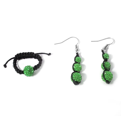 Green Austrian Crystal Ring (Adjustable) and Earrings with Stainless Steel Hook