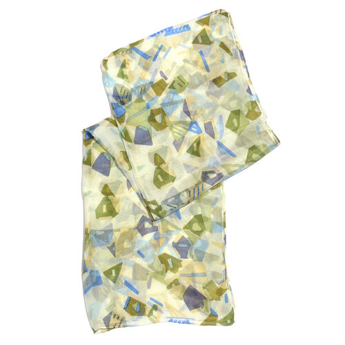 100% Mulberry Silk Green, White and Multi Colour Handscreen Abstract Printed Scarf (Size 180X50 Cm)