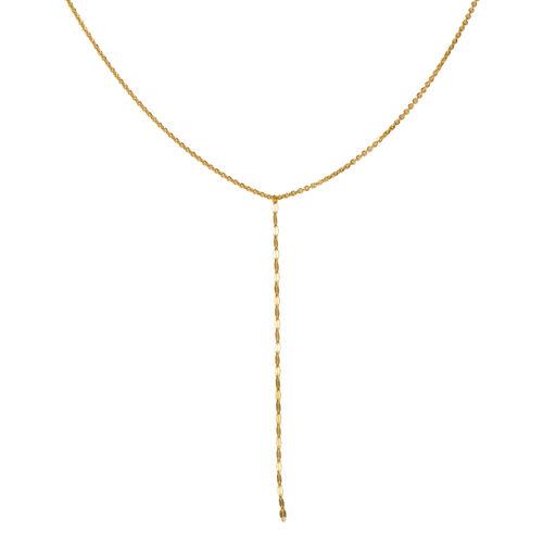 Designer Inspired 14K Gold Overlay Sterling Silver Y Shape Drop Necklace (Size 18), Silver wt. 3.85 Gms.