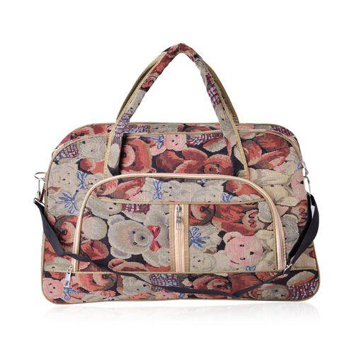 Teddy Bear Pattern Light Weight Weekend Bag with an External Zipper Pocket and Removable Shoulder Strap (Size 50x33 Cm)