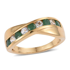 Zambian Emerald, White Topaz 1 Carat Silver Criss Cross Ring in Gold Overlay