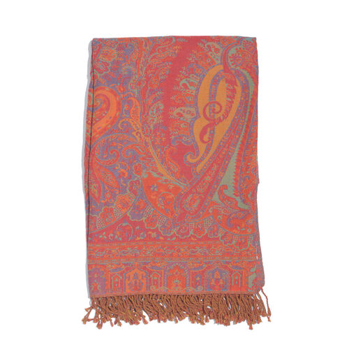 80% Cotton and 20% Wool Red, Blue and Multi Colour Paisley Pattern Jacquard Throw with Tassels (Size 180X140 Cm)
