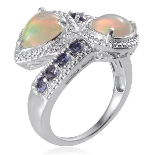 Ethiopian Welo Opal (Pear), Iolite Ring in Platinum Overlay Sterling Silver 2.000 Ct.
