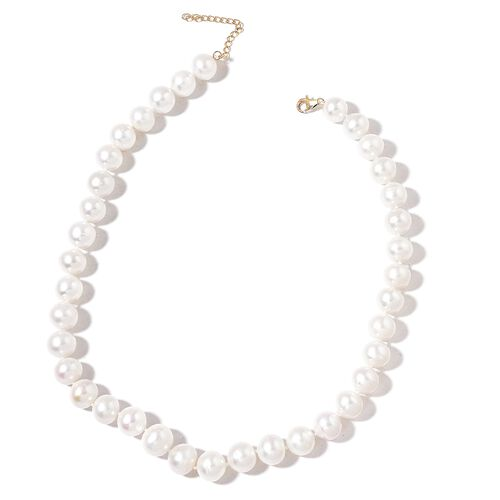 9K Yellow Gold Top Lustre Premium AAA Fresh Water White Pearl (Very Rare Size 13-14 mm) Necklace (Size 18 with 2 inch Extender)