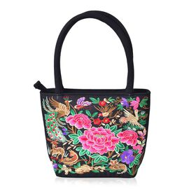 Shanghai Collection Pink, Green and Multi Colour Floral and Bird Embroidered LargeTote Bag (Size 23X21X7.5 Cm)
