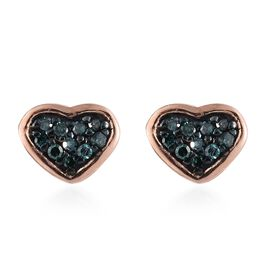 Blue Diamond Heart Stud Earrings (with Push Back) in Rose Gold Overlay Sterling Silver