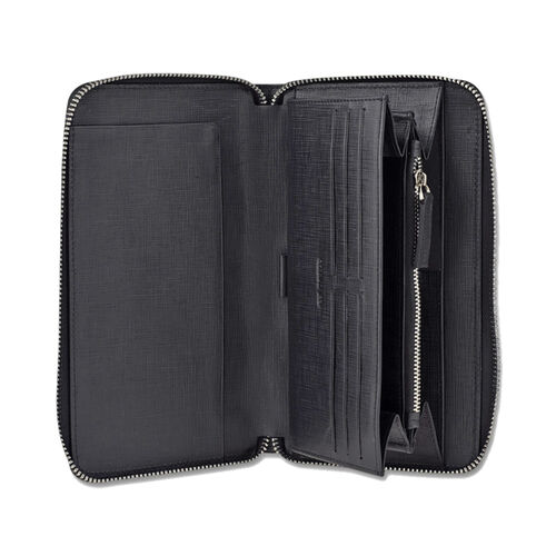 Close Out Deal - CERRUTI 1881 London Genuine Leather Travel Organiser Doha Wallet- Black (Size 21x12 Cm)
