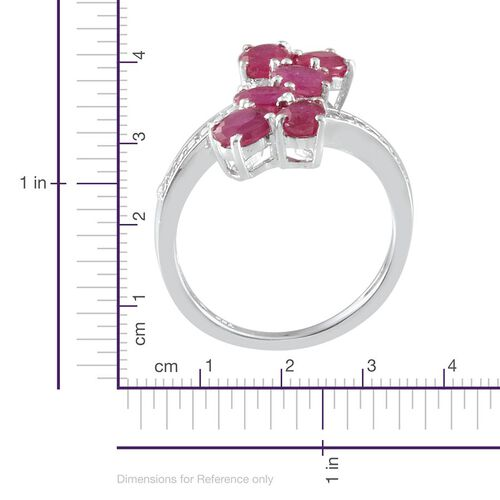 African Ruby (Ovl) Crossover Ring in Platinum Overlay Sterling Silver 3.250 Ct.