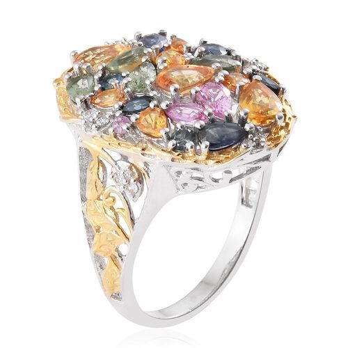 Yellow Sapphire (Pear), Kanchanaburi Blue Sapphire, Orange Sapphire, Pink Sapphire, Green Sapphire and Multi Gem Stone Ring in Platinum and Yellow Gold Overlay Sterling Silver 5.01 Ct.