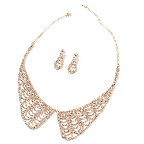 AAA White Austrian Crystal Collar Necklace (Size 17 with 5 inch Extender) and Dangling Earrings (with Push Back) in Yellow Gold Tone