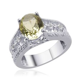 Green Sillimanite (Ovl 2.40 Ct) White Topaz Ring in Platinum Overlay Sterling Silver  2.500 Ct.