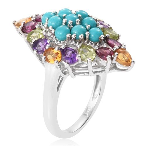 Arizona Sleeping Beauty Turquoise (Rnd), Rhodolite Garnet, Citrine, Amethyst and Hebei Peridot Ring in Platinum Overlay Sterling Silver 3.590 Ct.